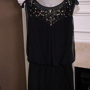 Black jewel embellished mini dress